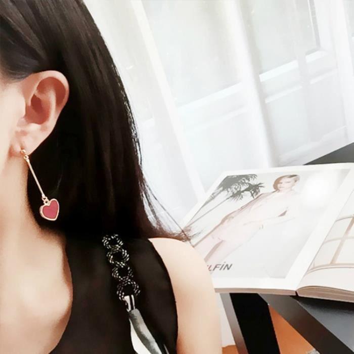 Bijoux mode 201849 boucle doreille corée stlye belle fille longue cœur doux décorations femmes long noir