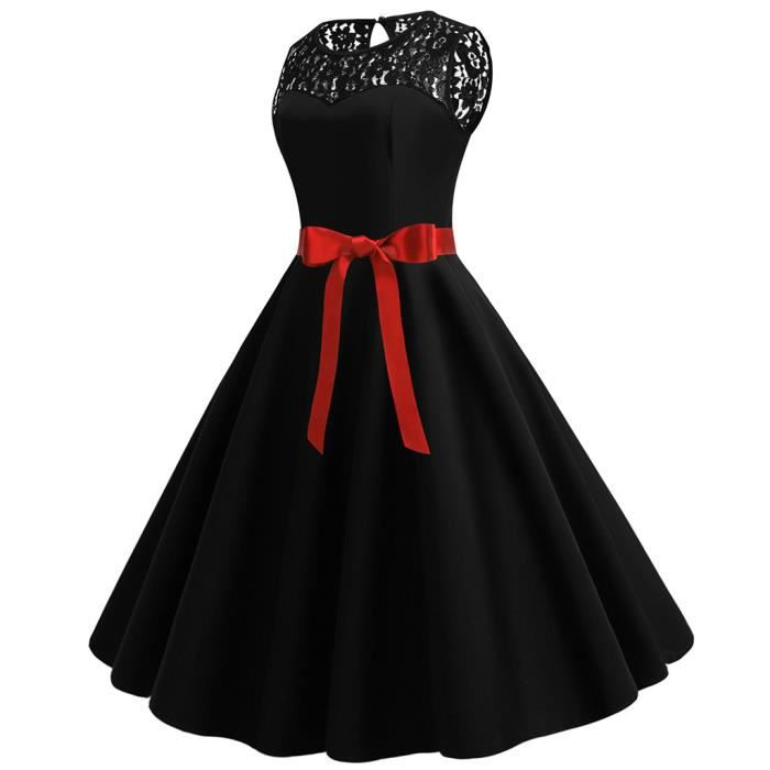 1950 Vintage Solide Trapèze Femmes Noir Robe Sans En Années Des Prom Parti Splice Manches Dentelle Rétro 1tqpHdwqP