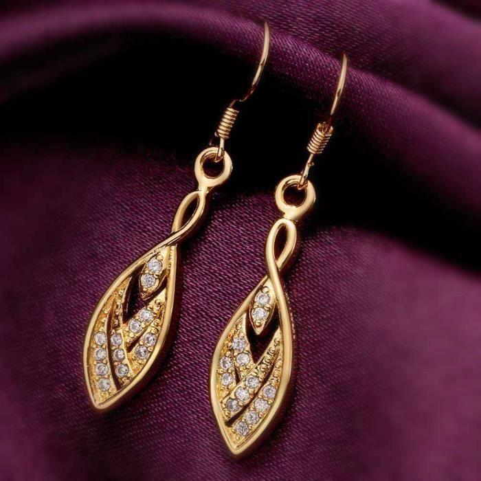 Boucles doreilles pendante Doré or jaune 750/00 18K carats Bijou fantaisie haut de gamme Oxyde de Zirconium Femme Jaune Paola