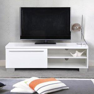 MEUBLE TV Dora Meuble TV avec Tiroirs Laque Blanc,Scandinave