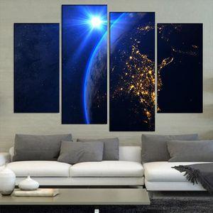 TABLEAU - TOILE 4 Pcs Grand Abstrait Rising soleil bleu sur la pla