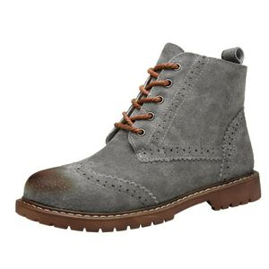 Brootin Nubuck Leather Boots Casual Booties Brogue Shoes Lace Up IYC32 Taille-36 1-2 3o4qx