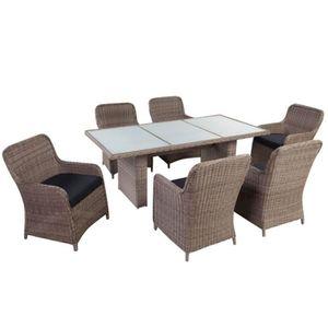 CLP Salon de jardin de luxe SANDNES, 6 + 1 Table de jardin en résine ...