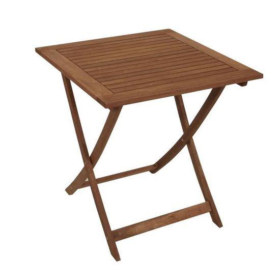 Table carrée pliante bois d\'eucalyptus huilé certifié FSC 70x70x72cm ...