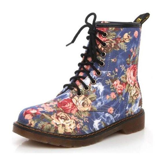 c605112b8 Lacets Imprimé Floral Bottes Femmes Chaussures Martin Douces à Femme ...
