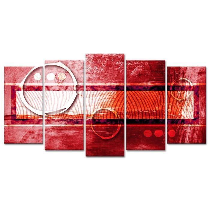 Thème : Abstrait - Tableau Déco Design Abstrait Charme Africain - 150x80 cm - RougeTABLEAU - TOILE