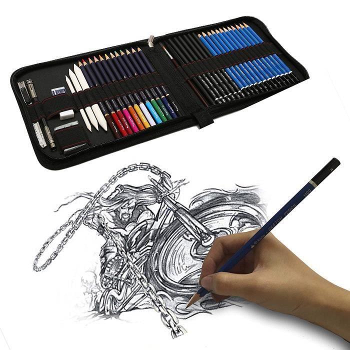 41pcs Kit De Dessin Pro Avec Crayons Fusain Crayon De Couleur