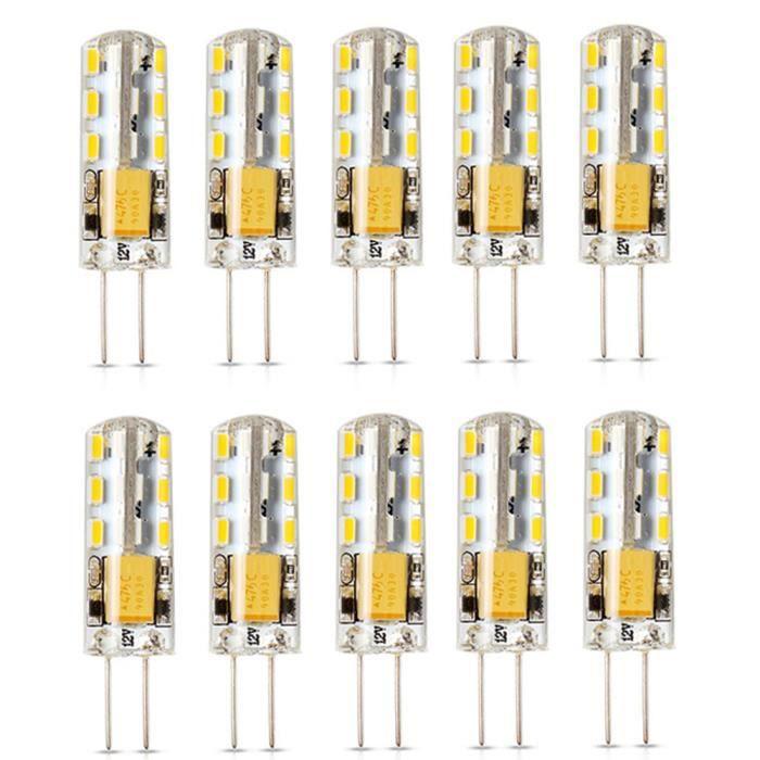 Elinkume Ampoule LED 10x G4 2W équivalent à 15W Blanc Chaud 150LM AC / DC12V