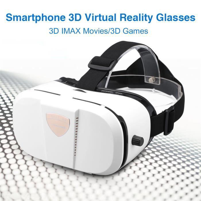 50ee94dce7ecc Lunettes 3D VR de Réalité Virtuelle Box 3D Casque Réglable Jeux pour  Smartphone de 4 à 6 Pouces Excelvan GBS-V3 Blanc