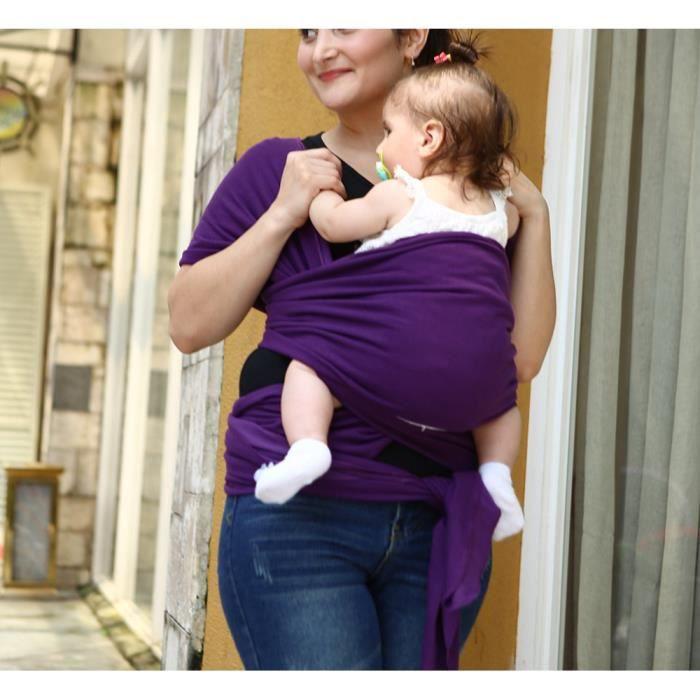 Écharpe de portage pour porter bébé porte kangourou baby carrier Sac à dos Porte  Bébé en coton+lycra élastique tabouret bébé-Violet c1f78a52189