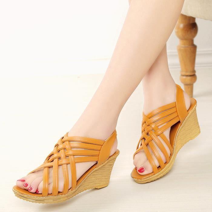 Sandales femmes nouvelle mode sexy plate-forme talons hauts coins