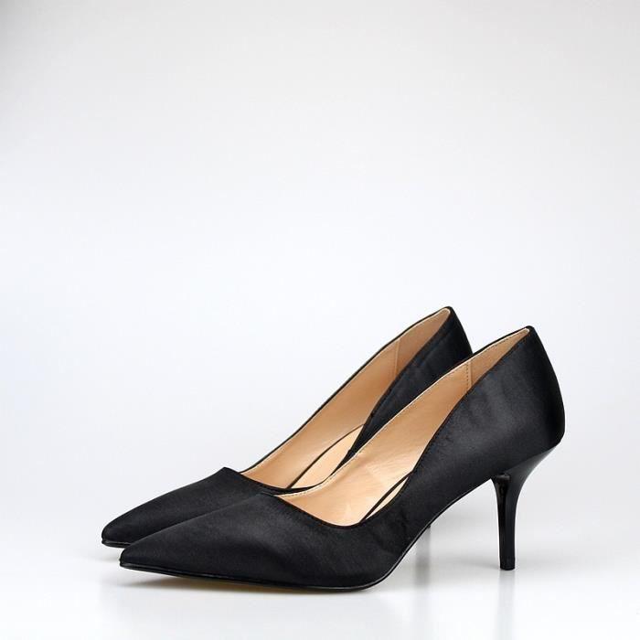 Chaussures Femme 2017 New Talons Designer Toe Pointu satin Pompes 7cm chaussures de mariée mariage soirée Party Stiletto Plus