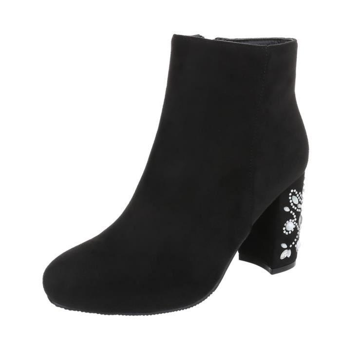 Chaussures femme bottillon avec des strass High Heels noir 41