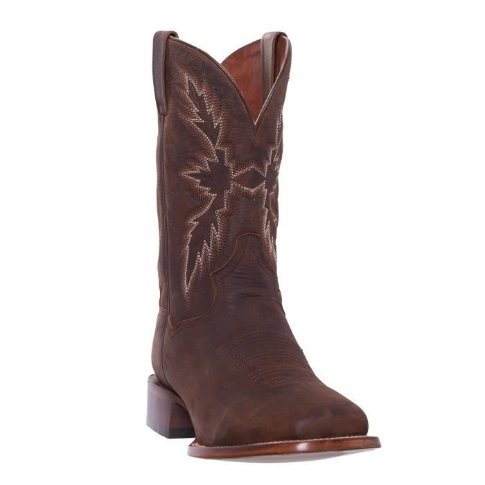 Argent Canyon Hommes Renegade Distressed Brown bout carré occidental Roper Santiags DZENE Taille-44 1-2