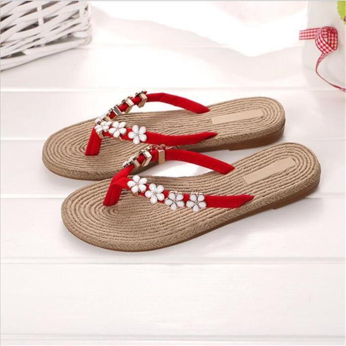 Femmes Tongs Nouvelle Mode Pantoufle éTé Printemps Et éTé Pantoufles Femme Cool Sandale Marque Femme Plus Taille 35-40,rouge,35