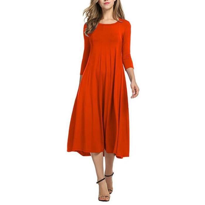 b87b9e7d2839 Femme Robe Tunique Mi-Longue Casual Mode Solid color Jupe Col Rond Orange