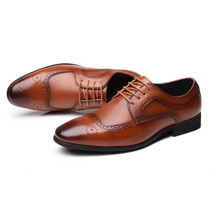 b6539cb36f7c06 Chaussures de Ville à Lacets en Cuir pour Homme Marron Brun - Achat ...