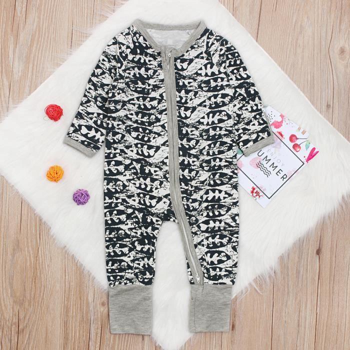 e87ac3dcc4e12 0-4 Ans Pyjama Bébé Garçon Fille Unisexe Grenouillère Zippée Combinaison  Poisson Imprimé pour Nouveau-né Enfant Mixte