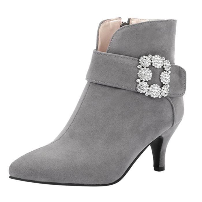 Zipper Boucle Chaussures Cheville Bottes Femmes Pointu En Daim Gris Talons strap Bout XTwzqd