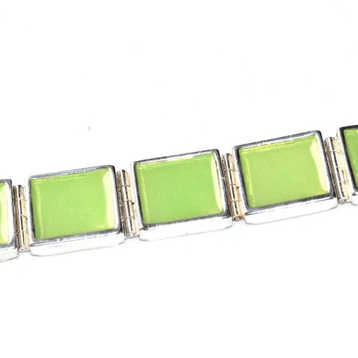 Bijou gros bracelet signé SCOOTER plaqué argent émail vert 18cm ... a366f38b1ded