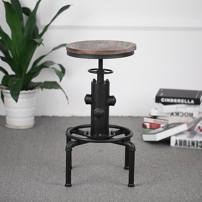 Ikayaa tabouret de bar hauteur r glable pivotant style industriel capacit de charge 100kg - Tabouret cuisine reglable hauteur ...