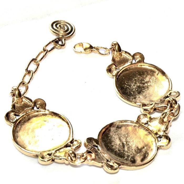 Gros Bracelet Original En Alliage Doré Très Travaillé