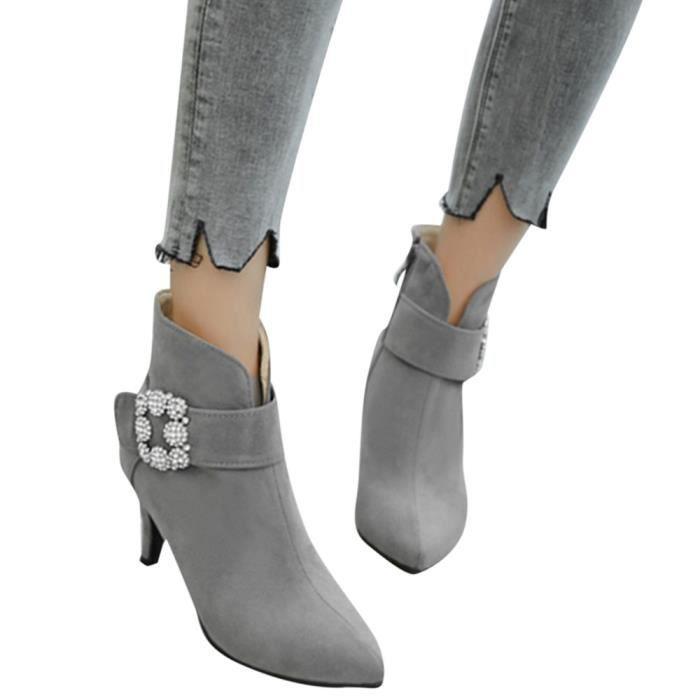Bout Chaussures Talons Zipper Gris Daim Bottes Femmes Pointu En Cheville Boucle strap 0dt01qwf