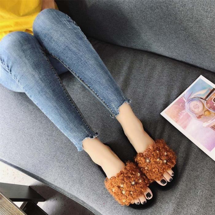 Chaud Marron Plat De Accueil Hx2064 Pantoufles Chaussures Confortable Fourrure Toes À Femmes Mode Croix Fond TEq66c