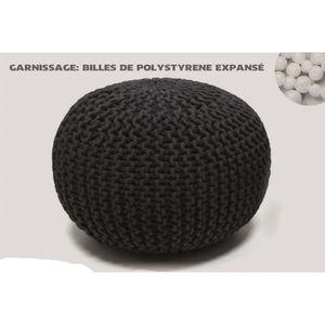 Pouf maille tricotée - Diam 50 cm - 100% Coton - Achat   Vente pouf ... c7323402773