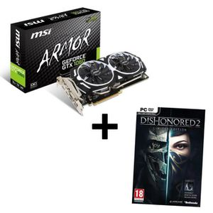 MSI Carte graphique GeForce? GTX 1060 ARMOR 3G OCV1 3Go GDDR5 + Jeu PC Dishonored 2 Limited Edition offert !