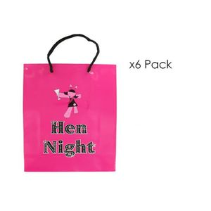 KIT DE DECORATION Pack of 6 Hot Pink Hen Night Goodie Party Bags