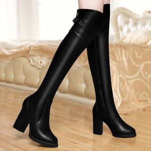 BOTTE Nouvelle mode femmes genou bottes talon épais plat