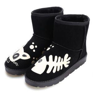 BOTTE Femme cheville bottes plates Casual hiver chaud Bo