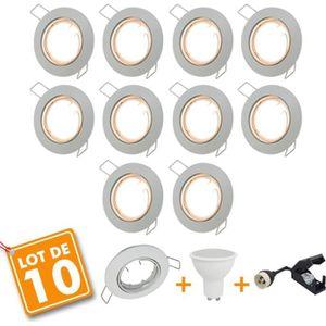 SPOTS - LIGNE DE SPOTS Lot de 10 Spot LED encastrable complet orientable