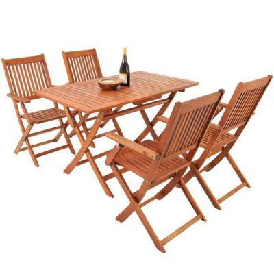 Ensemble 1 table et 4 chaises en bois d\'\'Acacia Pliable - Achat ...