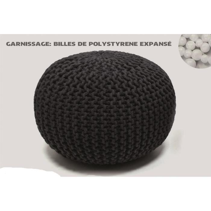 POUF - POIRE Pouf maille tricotée - Diam 50 cm -  100% Coton