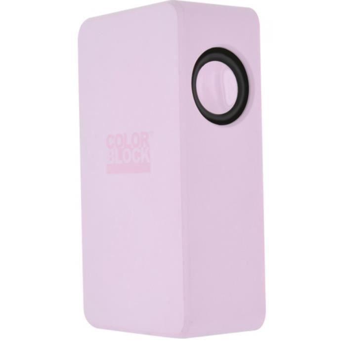 Enceinte sans fil rose clair Colorblock - Technologie NearFA : il suffit de placer votre appareil équipé d'un haut parleur sur le boitier pour amplifier le son - 800 mAh - Connexion Jack 3.5 mm possible - Sortie 2W x 2RMSENCEINTE - RETOUR