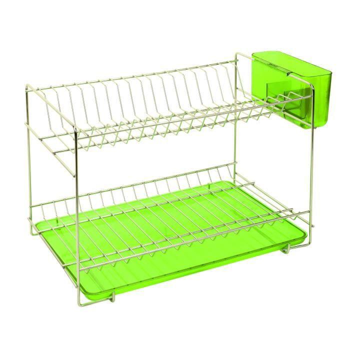 SAUVIC Égouttoir à vaisselle inoxydable avec plateau - Petit modèle - Vert