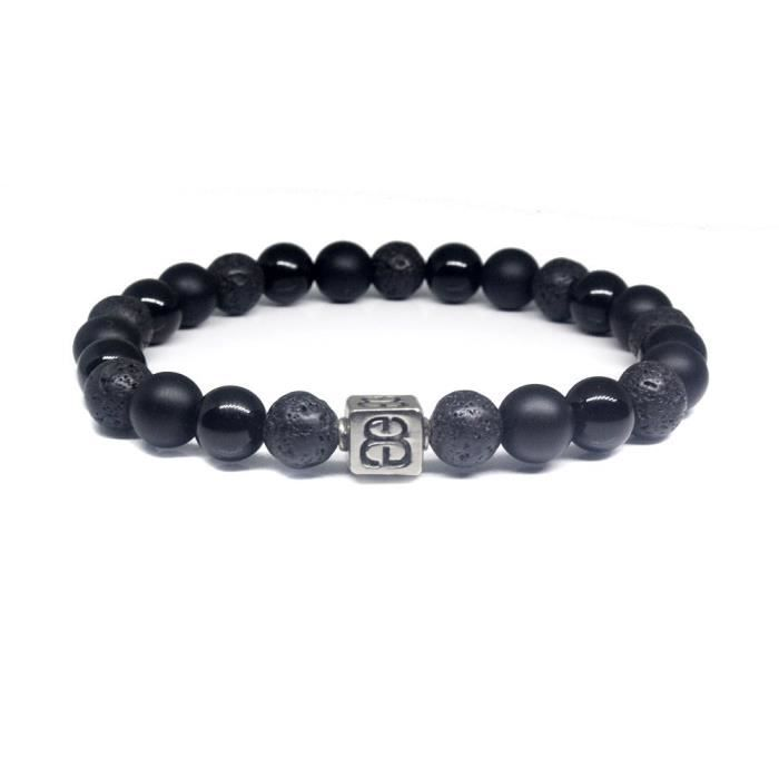 Mixte Pierre Noire Femmes et Logo Bracelet en argent sterling, Onyx et Lava Bracelet Pierre MQ716