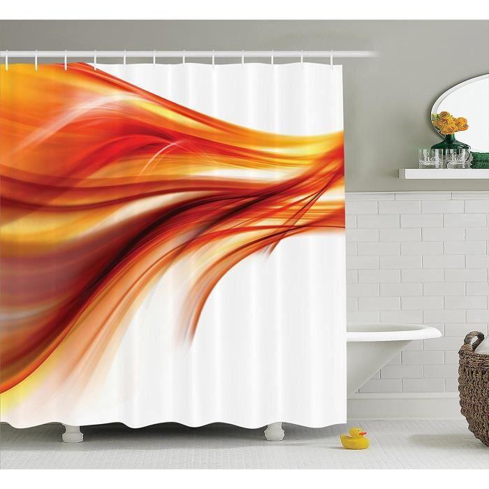 5547lo 1 Rideau De Douche Orange Set Resume Imprimer Art Floue Salle De Bains Accessoires Avec 12 Crochets 60 Pouces X 72 Pouces