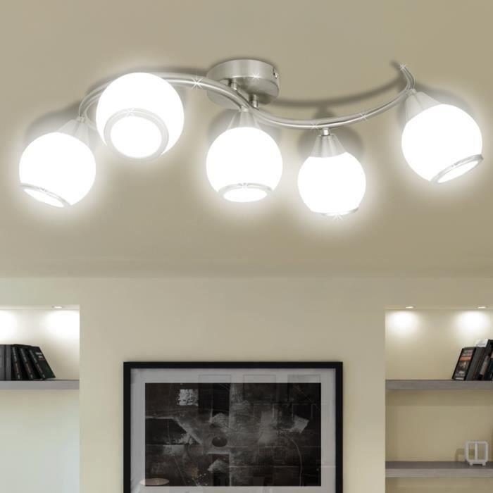 plafonnier avec abat jour en verre 5 ampoules e14 achat vente plafonnier avec abat jour e. Black Bedroom Furniture Sets. Home Design Ideas