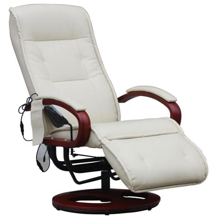 Fauteuil inclinable relax avec massage arles ii en cuir - Fauteuil massage dos ...
