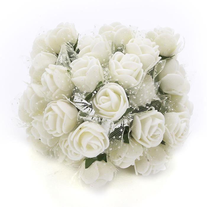 bouquet fleur artificielle mousse d co mariage maison 144pcs cr me achat vente fleur. Black Bedroom Furniture Sets. Home Design Ideas