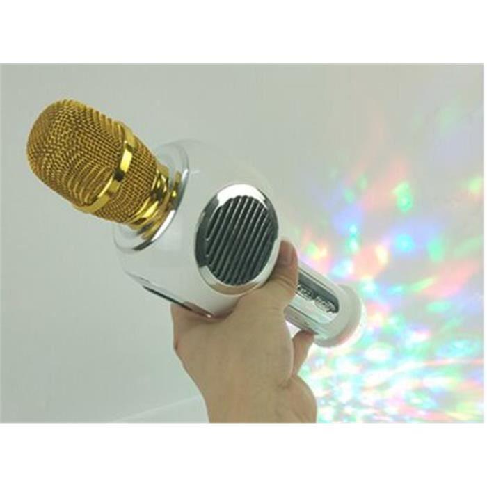 White Condensateur Sans Fil Bluetooth Magic Karaoke Microphone Lecteur De Musique 2in1 Haut-parleur Mic Avec Flash Led Néon Lights