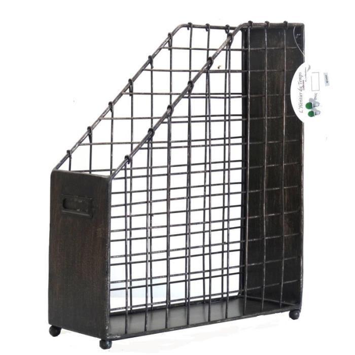 porte documents casier rangement range revues corbeille courrier en acier bross 10x26x31cm. Black Bedroom Furniture Sets. Home Design Ideas