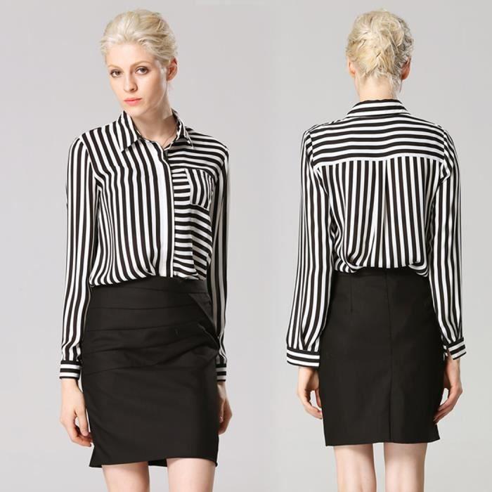 chemisier femme ray d 39 affaire noir et blanc noir et blanc achat vente chemisier blouse. Black Bedroom Furniture Sets. Home Design Ideas