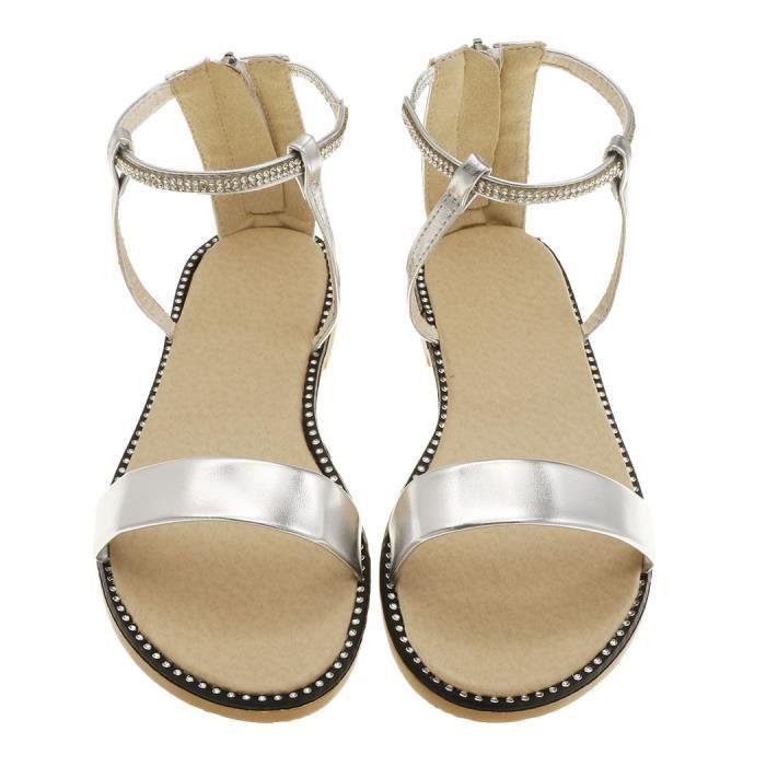 Strap Sandals Rhinstone fermeture éclair vers le haut plat Ankle