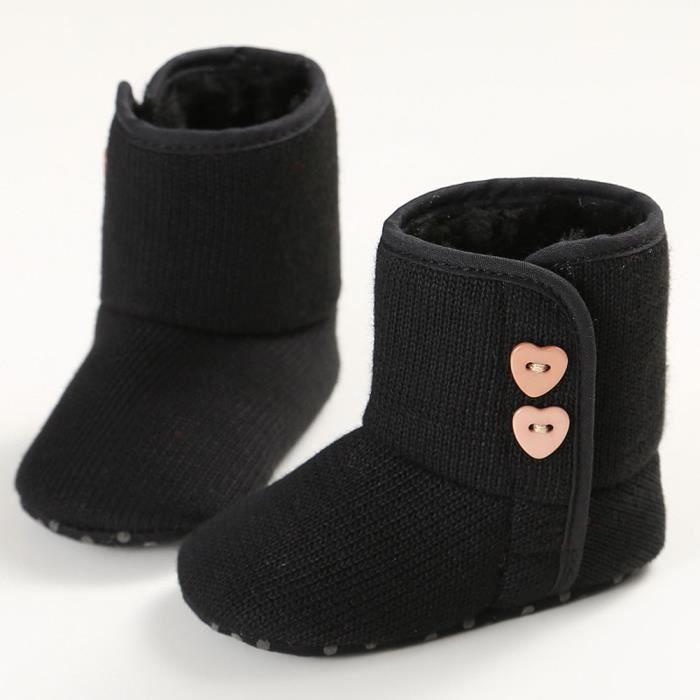 Bébé bambin bouton Soft Sole bottes de neige fille garçon chaussures de berceau rose Nhwhb