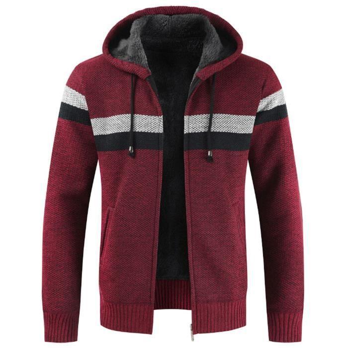 GILET Cardigan à capuche Couleur bloc en velours pour hommes, plus engrais pour augmenter le pull en maille chaude veste