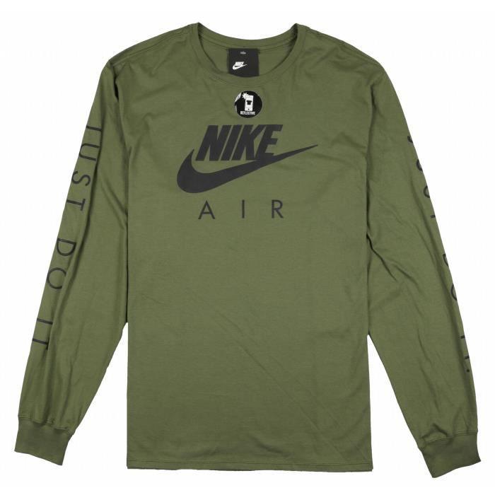 304c505f84aec NIKE Air Max hommes Logo manches longues T-shirt vert olive noire  réfléchissante 1SELJZ Taille-M